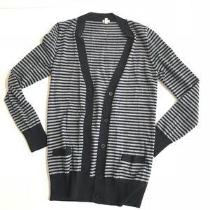 J. Crew Cardigan black and gray pocket sweater